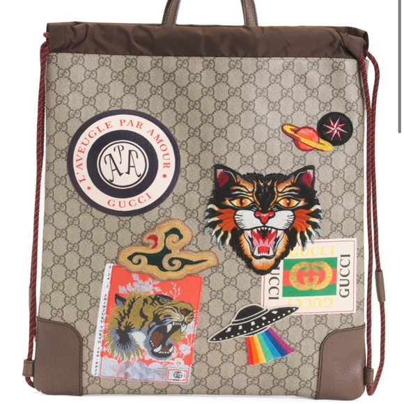 Gucci supreme canvas logo backpack patches NEW